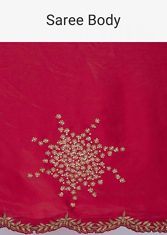 Lava red satin saree with embroidered butti only on kalki