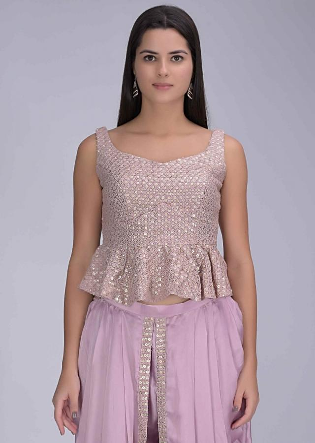 Lavender Dhoti In Crepe With Chiffon Crop Top And Net Jacket Online - Kalki Fashion