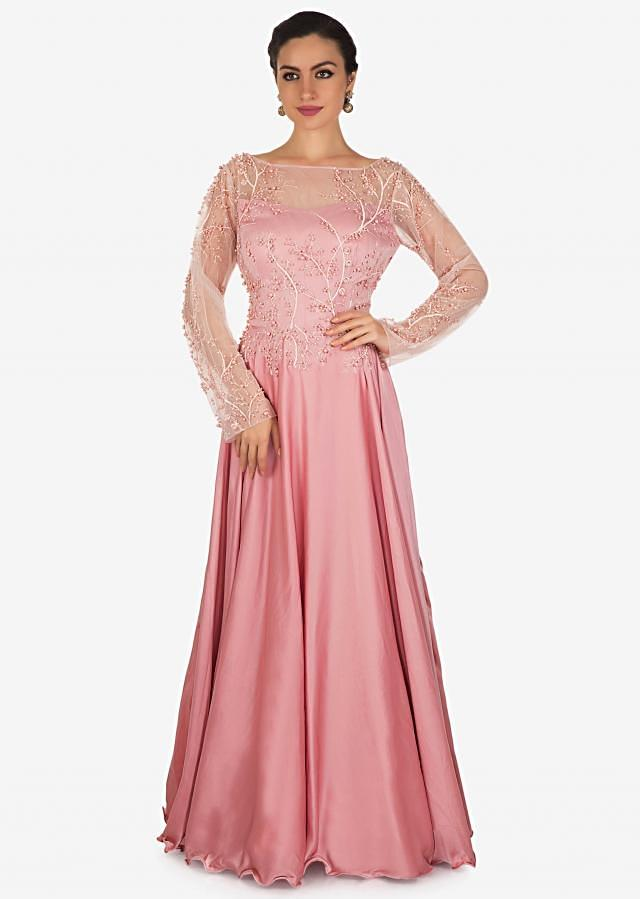 Lavender pink gown in satin with resham and moti embroidered bodice only on Kalki