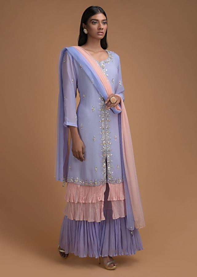 Lavender Purple Palazzo Suit In In Crepe With Powder Pink Frill Layers On The Hemline Online - Kalki Fashion
