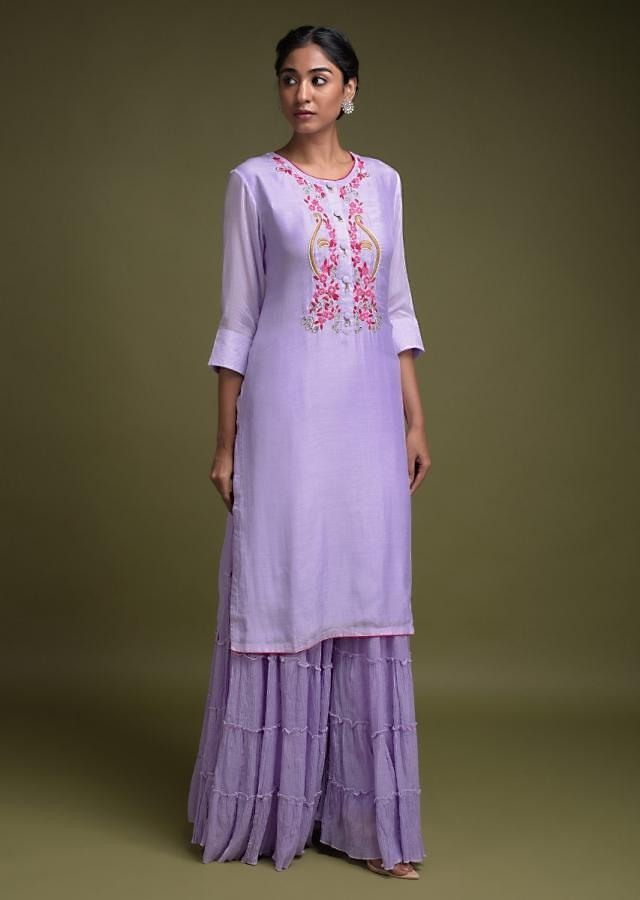 Lavender Sharara Suit In Cotton With Thread Work In Floral Pattern And Tiered Silhouette Online - Kalki Fashion