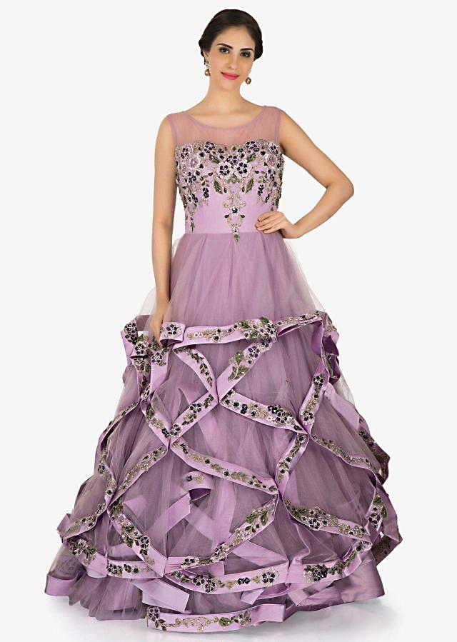 Lavender net gown beautified in resham and thread embroidered work only on Kalki