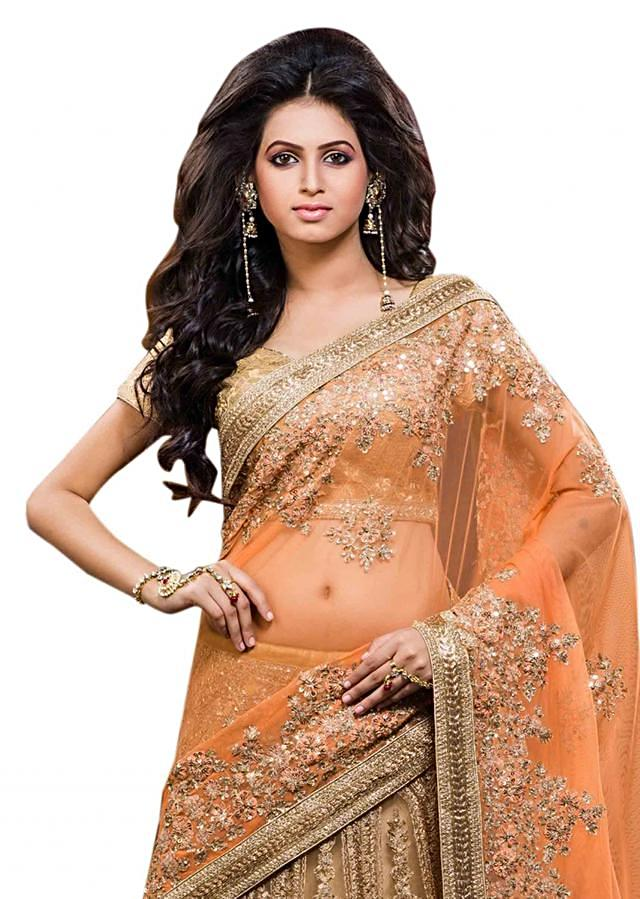 Lehenga saree feautirng in beige and orange with zari embroidery
