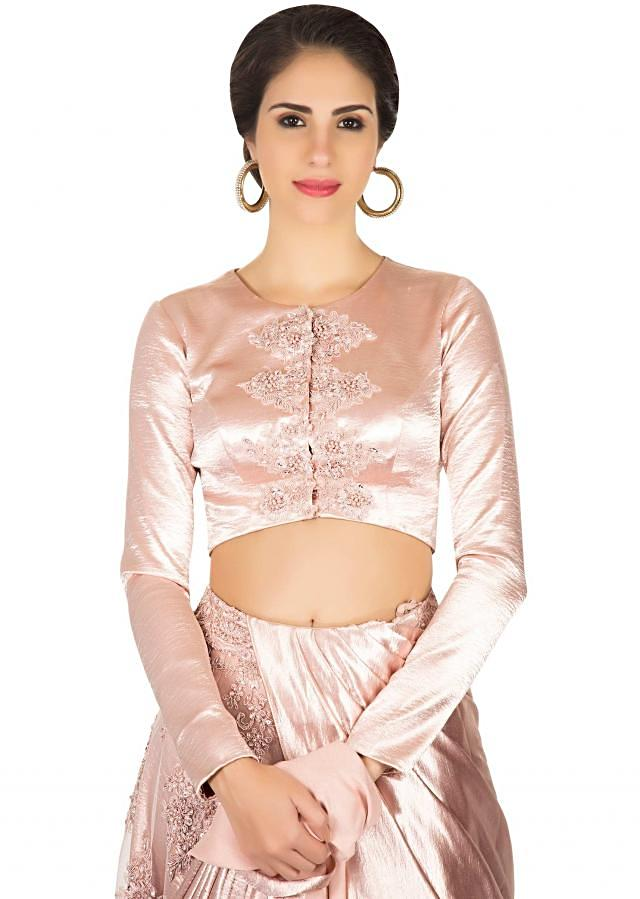 Lehenga saree in net and satin with pre stitched pallav only on Kalki