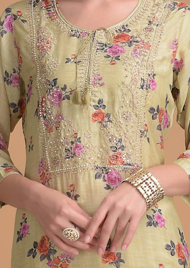 Lemon Green Kurti In Floral Print With Embroidered Bodice Online - Kalki Fashion