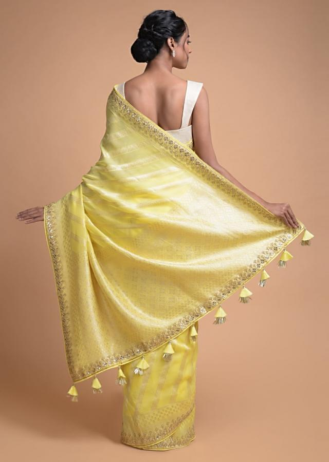 Lemon Yellow Banarasi Saree In Georgette With Weaved Diagonal Stripes All Over Online - Kalki Fashion