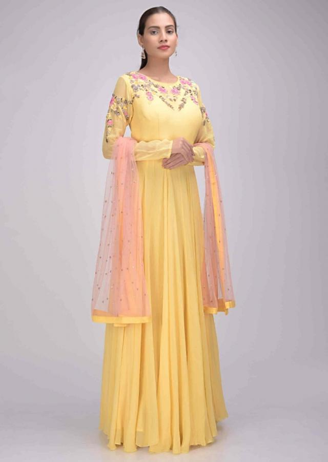 Lemon Yellow Suit In Chiffon With Blush Pink Net Dupatta Online - Kalki Fashion