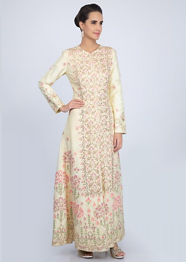 Lemon Yellow Long Suit With Embroidery And Front Slit Matched With Straight Pant Online - Kalki Fashion