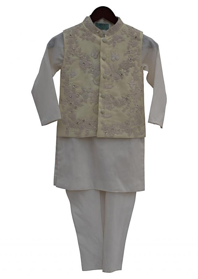 Lemon Yellow Embroidery Jacket with Offwhite Kurti and churidar by Fayon Kids