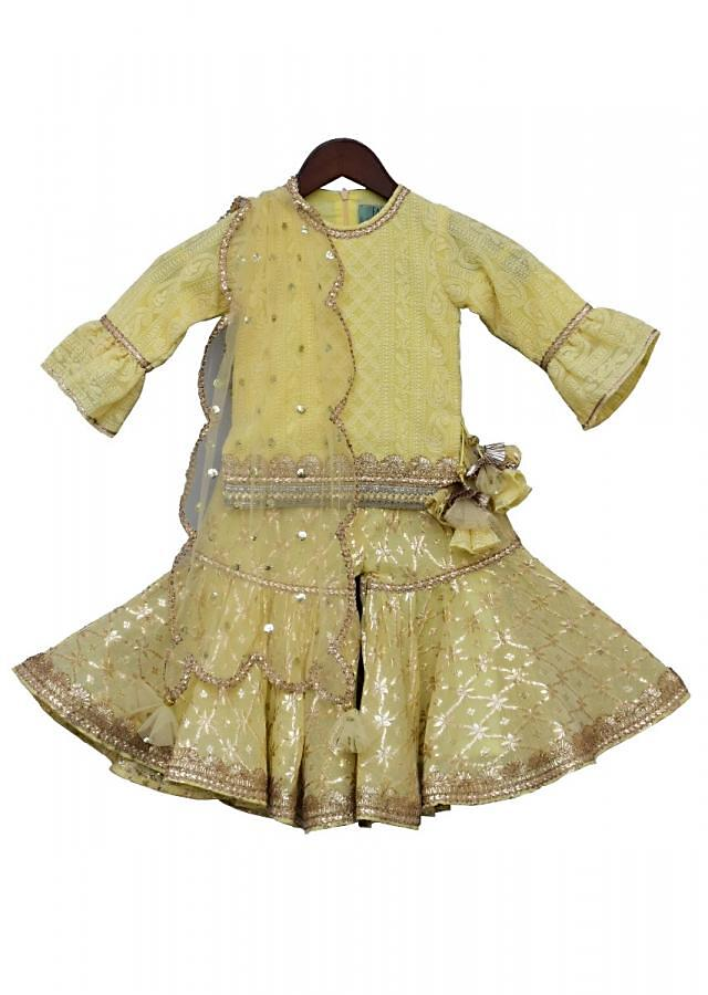 Lemon Yellow Embroidery suit with Sharara and net dupatta By Fayon Kids