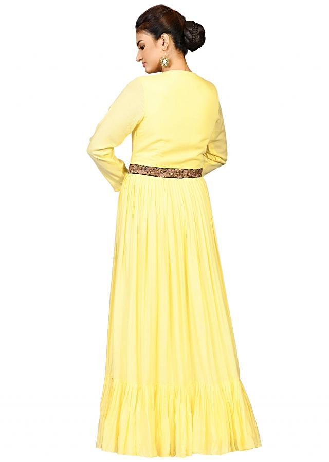 Lemon double pleated suit in chanderi elevated in yoke antique embroidery only on Kalki