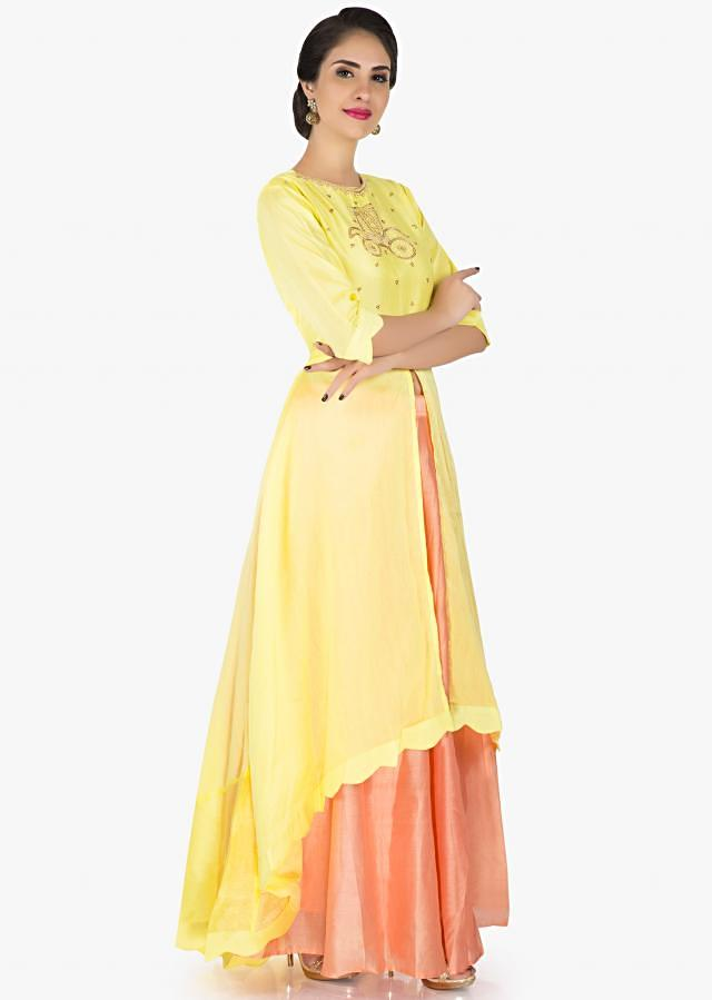 Lemon yellow top in silk featuring the chariot motif only on Kalki
