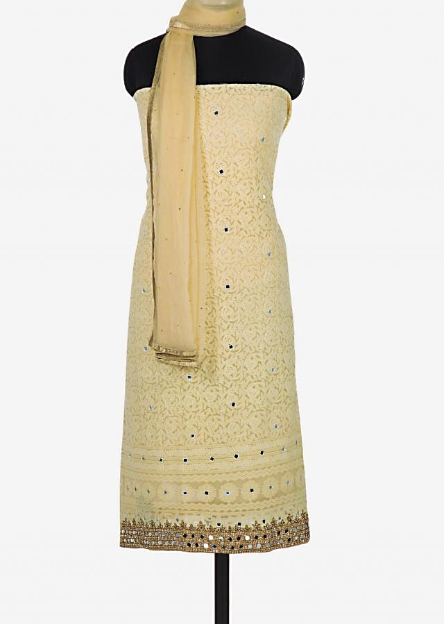 Lemon yellow unstitched suit in georgette crafted in cut dana and lucknowi thread work only on Kalki