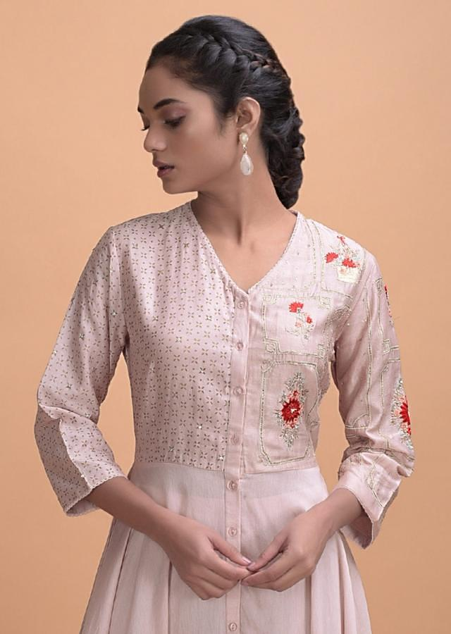 Lemonade Pink Flared Suit In Cotton With Foil Print And Embroidery Work Online - Kalki Fashion