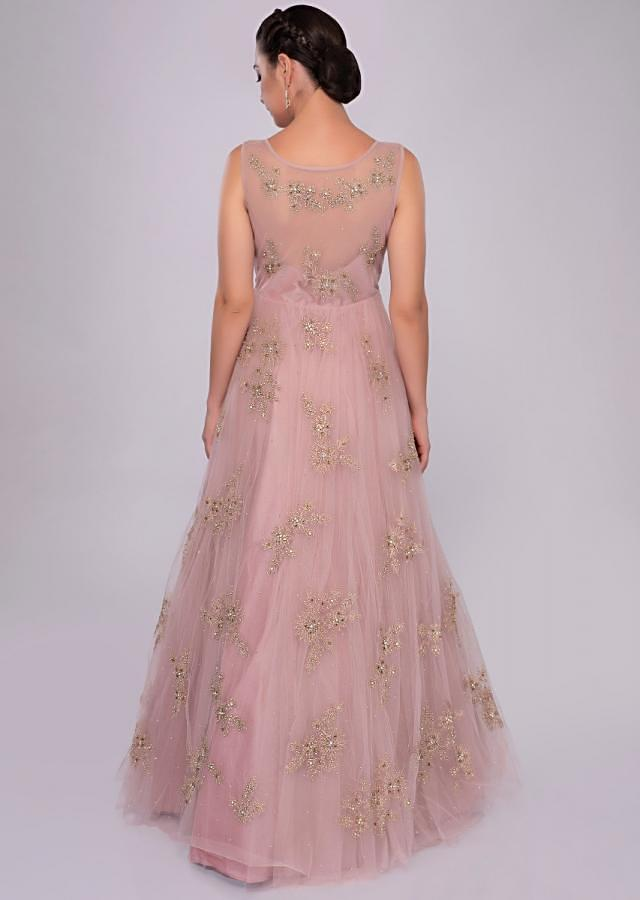lemonade pink net gown with floral embroidered butti only on Kalki