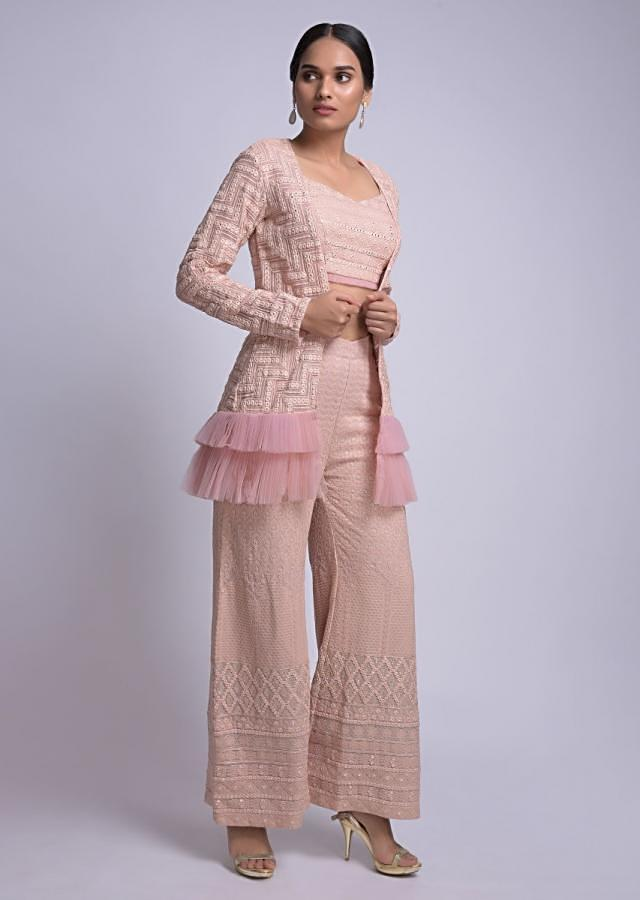 Lemonade Pink Palazzo Crop Top And Jacket With Lucknowi And Abla Work Online - Kalki Fashion