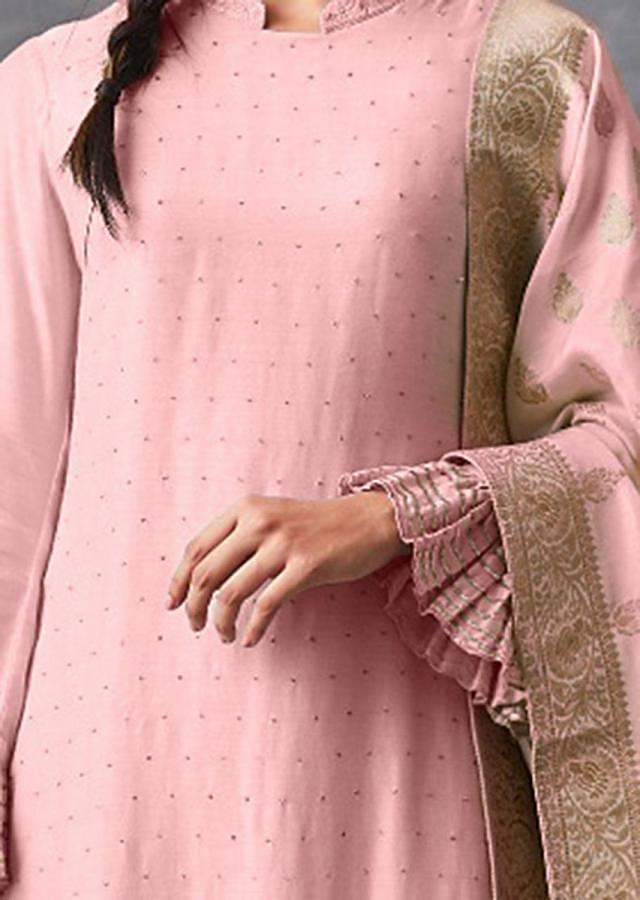 Lemonade Pink Straight Suit With Badla Work And Matching Palazzo Bottoms Online - Kalki Fashion