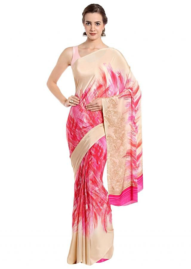 Light beige and pink saree in abstract motif print only on Kalki