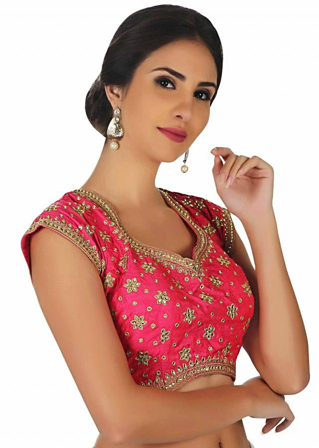 Hot pink blouse with kundan and thread embrodered butti only on Kalki