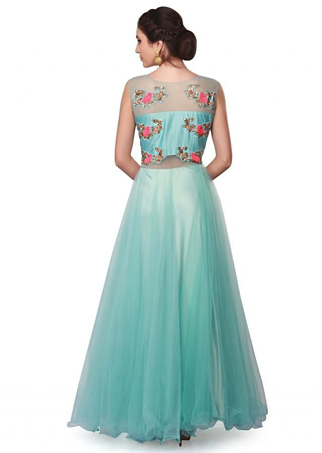 Light blue ball gown adorn in embroidered bodice only on Kalki