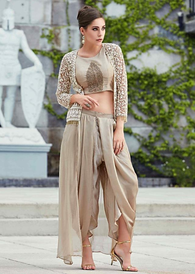 Light Brown Crop Top In Silk With Dhoti Pants And Long Embroidered Jacket Online - Kalki Fashion