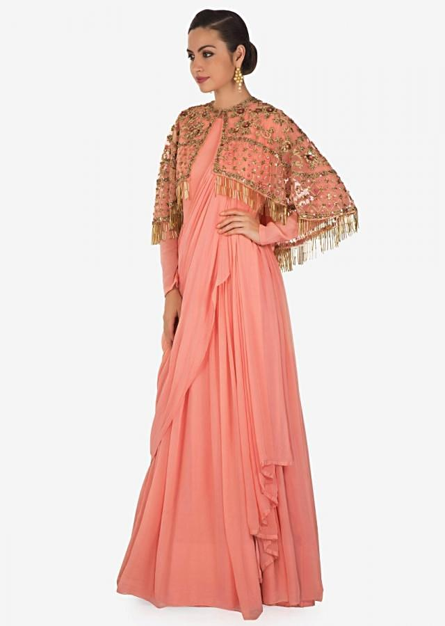Candy pink anarkali in georgette with an embellished cape only on Kalki