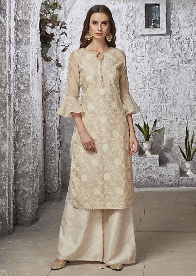 Light cream straight palazzo suit in floral jaal and paisley moti embroidery