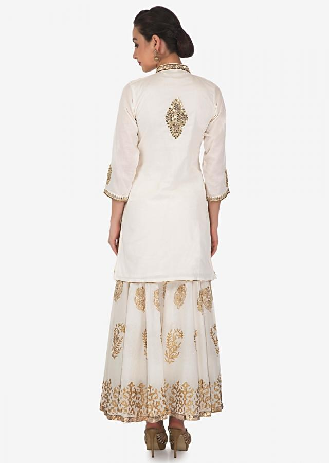 Cream Straight Sharara Suit With Kundan And Zari Embroidery All Over Online - Kalki Fashion