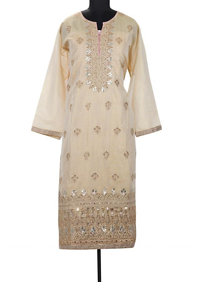 Light gold semi stitched suit with embroidered placket only on Kalki