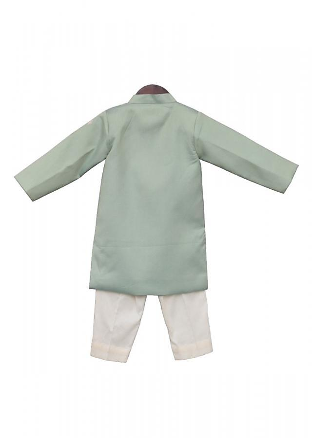 Light Green Embroidery Ajkan with off white Churidar by Fayon Kids