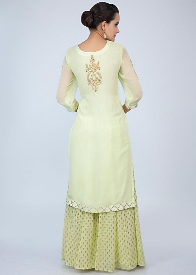 Light green georgette palazzo suit set with embroidery only on Kalki