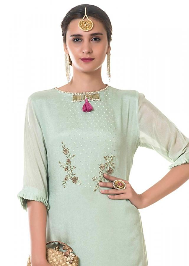 Light Green Layered Long Tunic With Hand Embroidery And Tasseled Neckline Online - Kalki Fashion
