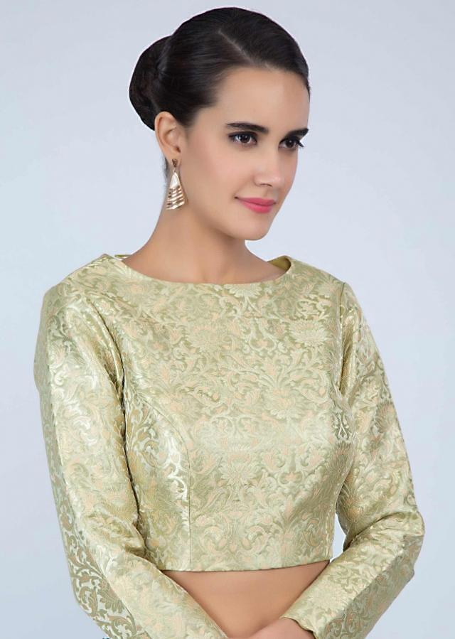 Light green high neck brocade blouse only on Kalki