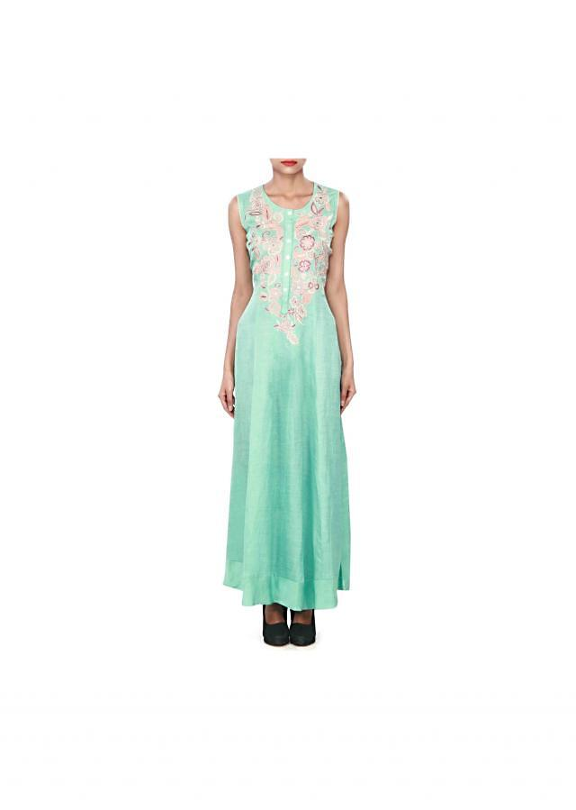 Light green kurti enhanced in resham embroidery only on Kalki