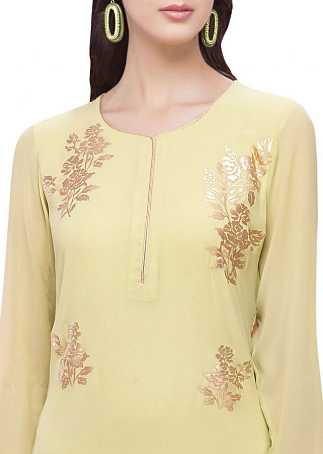 Light green straight suit in gold applique embroidery
