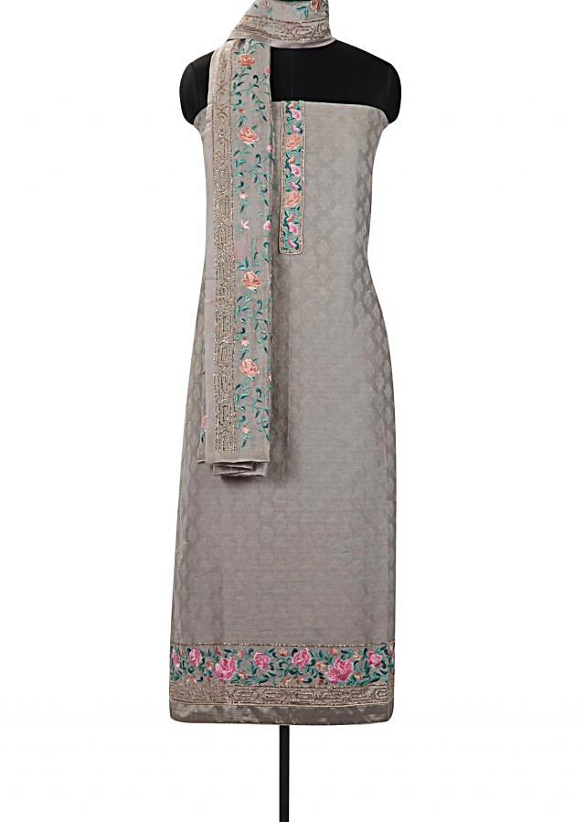 Light grey unstitched suit in with resham embroidered dupatta only on Kalki