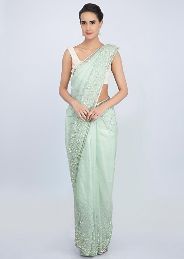 Mint Organza Saree With Embroidered Butti And Border Online - Kalki Fashion