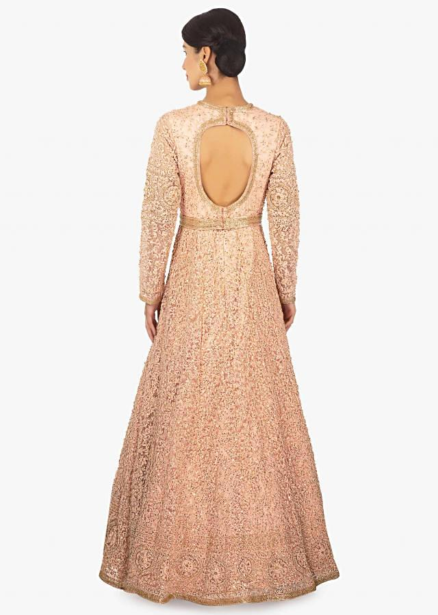 Light peach anarkali gown in thread work along with cut dana and sequins only on Kalki
