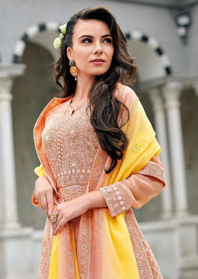 Light Peach Anarkali Suit In Chiffon With Floral Motif Thread Embroidery Online - Kalki Fashion