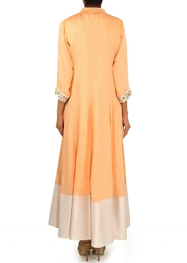 Light peach anarkali suit in gotta patch embroidery only on Kalki