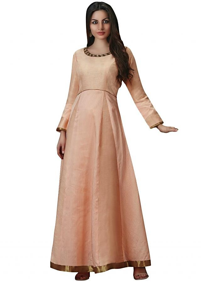 Light peach anarkali suit in zardosi embroidered neckline