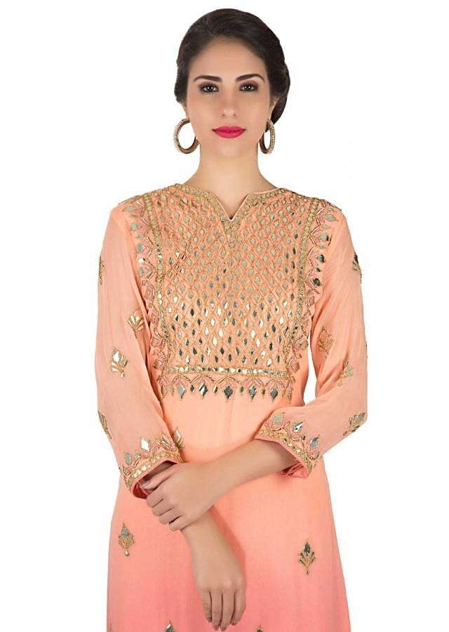 Peach And Pink Straight Suit With Placket In Gotta Patch Work Online - Kalki Fashion