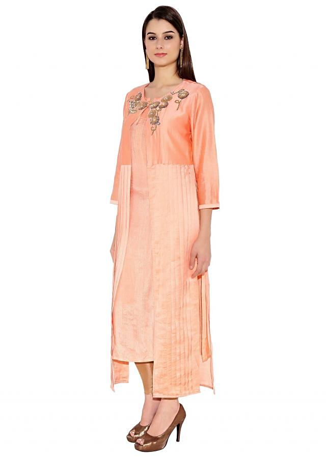 Light Peach Cotton Kurti With Overcoat And Box Pleat And Embroidered On Neckline Only On Kalki