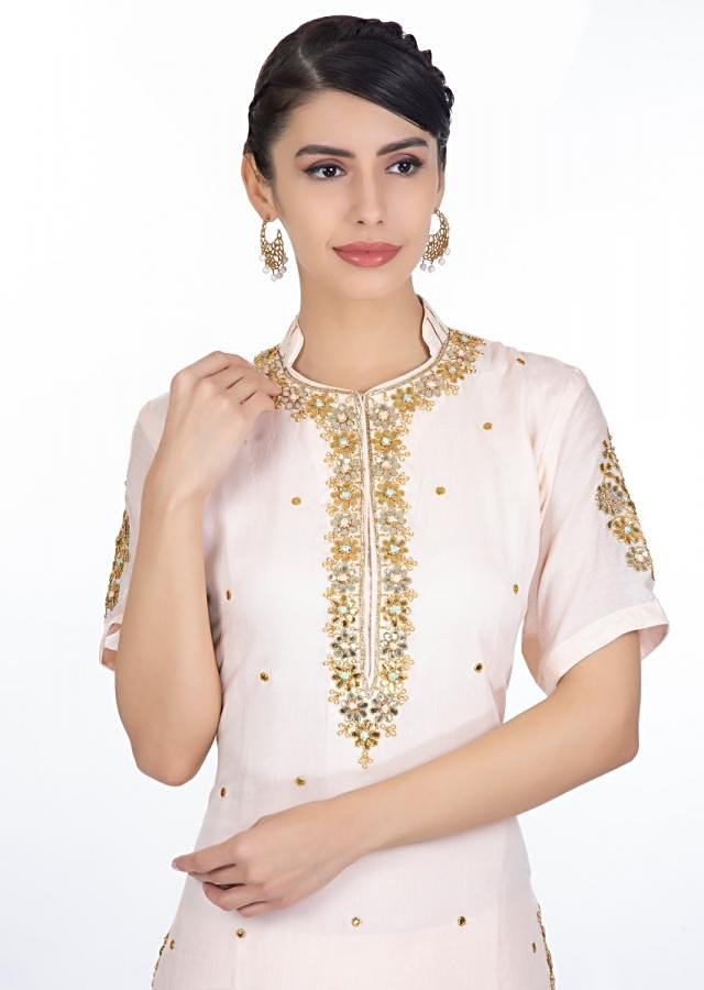 Light Peach Suit With Gotta Patch Embroidery Paired With Matching Palazzo And Chiffon Dupatta Online - Kalki Fashion