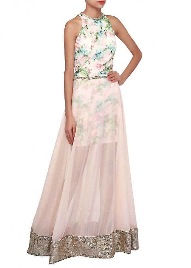 Light peach gown adorn in sequin and lace only on Kalki