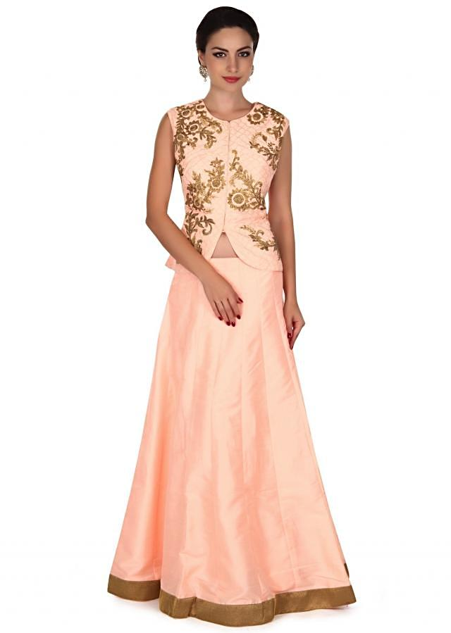 Light peach lehenga adorn in gotta lace embroidery only on Kalki