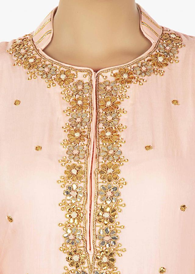 Light peach palazzo suit in gotta patch and moti work only on Kalki