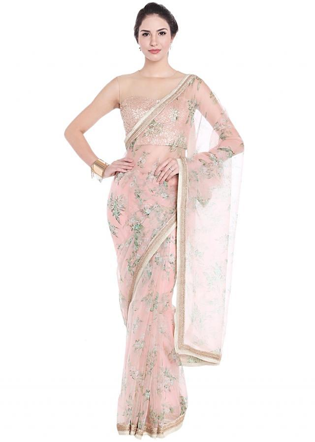 Light Peach Saree Embellished In Floral Motif With Contrast Border Online - Kalki Fashion