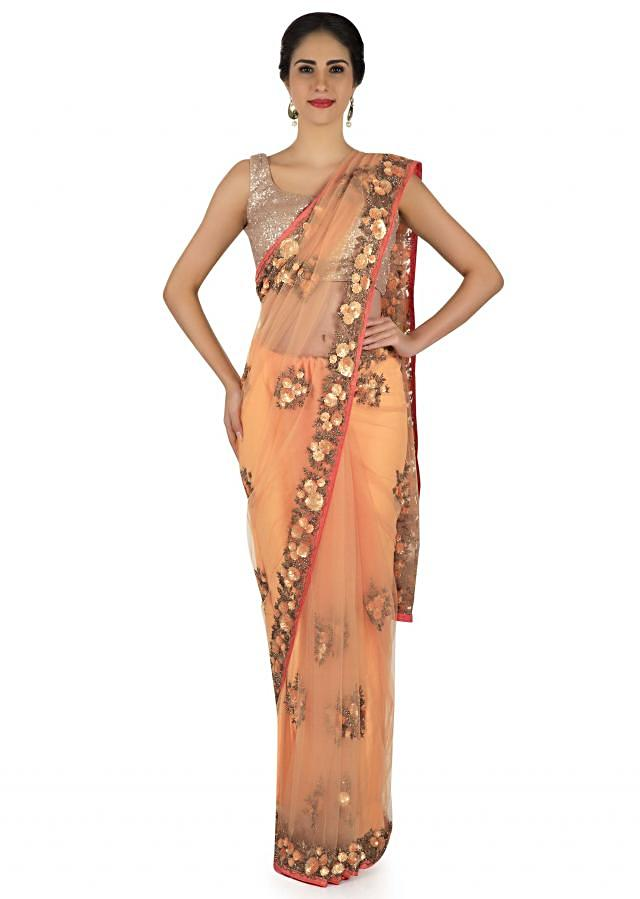 Light Peach Saree In Net With Sequin And Cut Dana Work In Floral Motif Online - Kalki Fashion