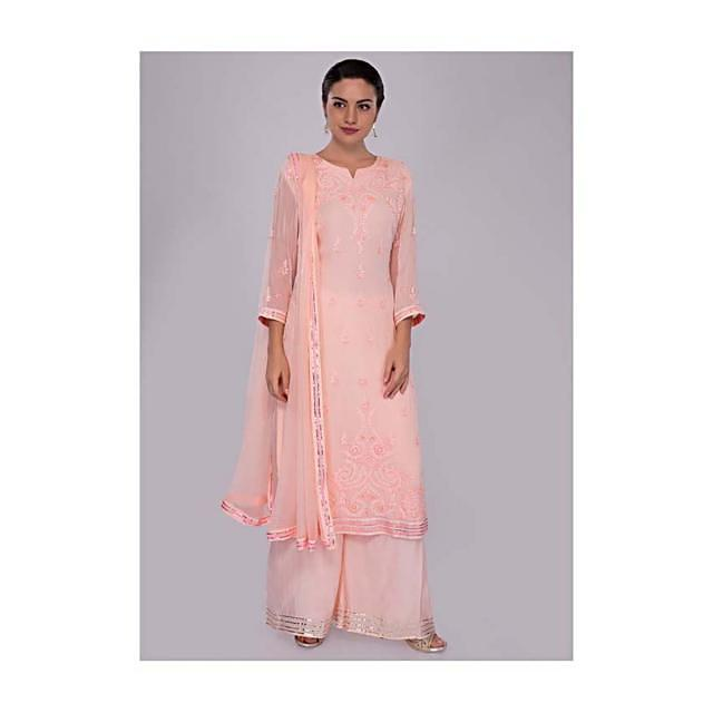 Light Peach Suit Set In Self Thread Embroidered Butti And Border Online - Kalki Fashion